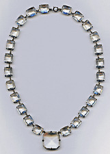 Vintage 1930's Art Deco Sterling & Crystal Open Back Rhinestone Collar Necklace