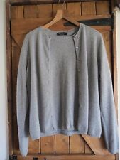 Valerie Stevens 100% cashmere twinset top cardigan grey size XL