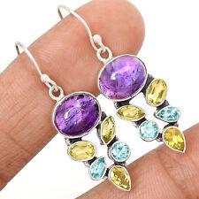Amethyst, Citrine & Blue Topaz 925 Sterling Silver Earrings Jewelry SE122678