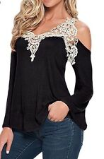 Black Plus Size 2x 3x Sexy Crochet Cold Shoulder Top Shirt & Torrid Jewelry