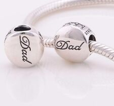 Dad Clear Genuine S925 Sterling Silver Charm Bead Fits European Bracelet