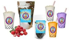 10+ Drinks Lychee Boba Tea Kit: Tea Powder, Tapioca Pearls & Straws
