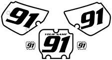 1990-1991 Kawasaki KX250 Pre-Printed White Backgrounds Black Bold Pinstripe