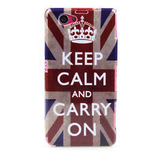 Custodia in TPU per Sony Xperia z1 Compact Custodia Protettiva Cover Keep Calm and Carry On GB UK
