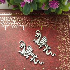 flying Dragon Tibetan Silver Bead charms Pendants fit bracelet 10pcs 27x12mm