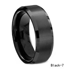 8mm Stainless Steel Ring Man/Women's Modish Band Silver Black Gold Rose Best