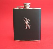 Chimney Sweep Black Leather 6oz Hip Flask Wedding Good Luck Groom Best Man Gift