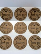 "50 Thank You 2"" Sticker Natural Kraft Paper Seals Handmade with love for you"