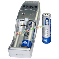 2x AA battery batteries Bulk Rechargeable NI-MH 3000mAh 1.2V BTY + USB Charger