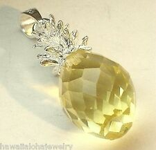 12mm Color Variety Sterling Silver Hawaiian Faceted Crystal Pineapple Pendant