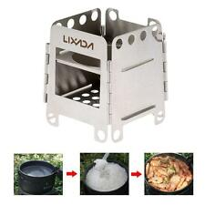 Portable Stainless Steel Folding Wood Stove Outdoor Cooking Camping Picnic E4S8