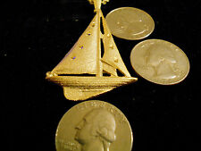 bling gold plated navy nautical sailboat charm chain hip hop necklace jewelry gp