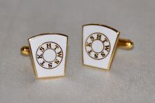 Masonic Mark Keystone White Enameled Gold Plated Cufflinks (CF008)