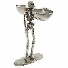 Large Skeleton Halloween Party Silver Skull 41cm Ornament Sweets Candy Holder