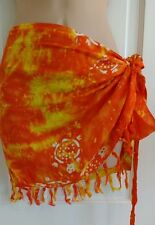 SARONG Mini Wrap Around Skirt Sunset ORANGE baby Turtles no border 10-16