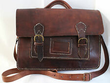 004 VINTAGE STYLE REAL GENUINE QUALITY LEATHER SATCHEL BAG BRIEFCASE BROWN 1