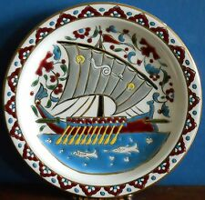 A  studio pottery art plate with ancient Greek Trireme by Hibiscus of Rhodes