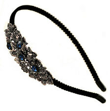 Dark Blue Silver Crystals Leaves Flowers Velour Covered Headband Hair Band UK Sh