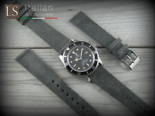 20 mm Genuine Italian Suede Leather LS VINTAGE OLD Watch Strap Band Iron grey