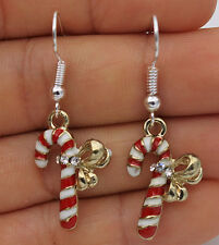 925 Silver Plated Hook - 1.7'' Christmas Magic Wand Crutch Crystal Earrings #17