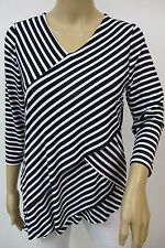 Black & White Diagonal Striped Print 3/4 Sleeve Layered Top Sz 3