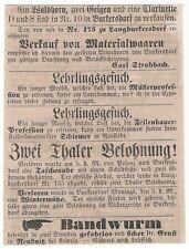 14/324 ANZEIGE AUS EINER ZEITUNG 1862 STELLENMARKT SACHSEN BURKERSDORF NEUSTADT