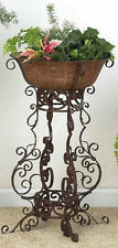 "Wrought Iron SCROLLWORK Floor Planter Plant Stand Holder Large 30"" Outdoor Patio"