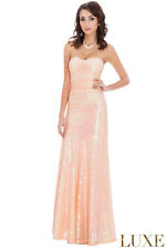 Goddiva Long Sequin Strapless Sweetheart Evening Maxi Party Dress With Straps