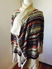 KENSIE Cream Multi-Color Fair Isle Cardigan Sweater Sz L