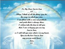Christmas/Birthday Gift For Son in Law Personalized Poem Gift ~ Rainbow Hands