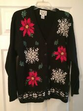 WOMEN'S SMALL STICHES N TIME POINSETTA SNOWFLAKE CHRISTMAS SWEATER Cardigan Ugly