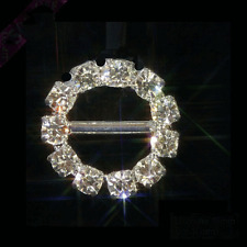 10 SMALL ROUND GRADE A  DIAMANTE RIBBON SLIDER BUCKLE/EMBELLISHMENTS app 1.75cm