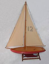 "Antique Painted Wooden Pond Boat Sailing Yacht Model on Stand 37 ½ "" tall"