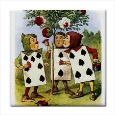 Alice In Wonderland Queen Of Hearts Cards Painting Roses Color Art Ceramic Tile