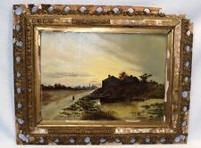 ANTIQUE OIL PAINTING OF LANDSCAPE ON A CANVAS BOARD BY S.L.LEE 1896 WITH A SIGN