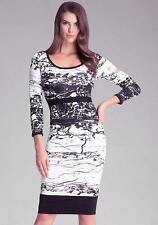NWT bebe black white cutout back print contrast bodycon top midi dress XS  0 2 4
