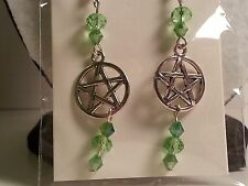 Silver Tone & Green Glass Bead Pentagram Star Earrings -Halloween Gothic Jewelry