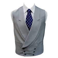 "100% Wool Double Breasted Dove Grey Waistcoat 48"" Regular"