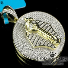 Men's 10K Yellow Gold Finish Mini Pharaoh King Tut Genuine Diamond Pendant Charm