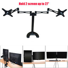 Dual Monitor Arms Fully Adjustable Desk Mount Stand /For 2 LCD Screens up to 27""