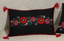 Permin  83-2961  Coussin  Flowers on Black  Kit  Broderie  traditionnelle