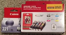 Genuine Canon Printer Ink Cartridges Color Black 221 220 New + Paper Authentic
