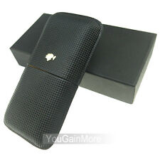 Cohiba Black Leather Classic Cigar Case Holder 3 Tube Tiny Checked W/Gift Box