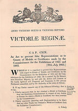 G88 1863 GB EXHIBITIONS *Act of Parliament* re MEDALS Great Exhibition 1851