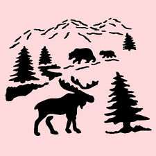 "MOOSE STENCIL NORTHWOODS BEARS PINES TREES BEAR STENCILS TEMPLATE NEW 5"" X 7"""