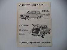 advertising Pubblicità 1962 INNOCENTI AUSTIN A40 A 40 BERLINA/COMBINATA