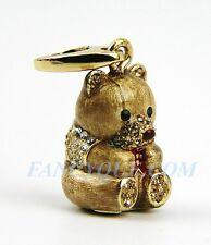 JUDITH LEIBER THEODORE TEDDY BEAR CHARM JEWELRY SWAROVSKI NEW 24K GOLD PLATED