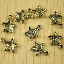 30pcs dark gold-tone studded star charms h2095