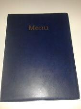 A4 MENU COVER/FOLDER IN BLUE LEATHER LOOK PVC