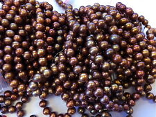 "Wholesale Lot 300"" 6.5-7.0 Chocolate Copper Genuine Cultured Freshwater Pearls"